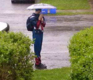 Captain America waits