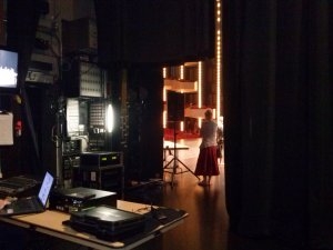 Getting ready to go onstage