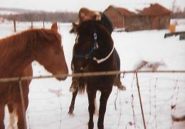 Riding bareback with a halter and lead rope